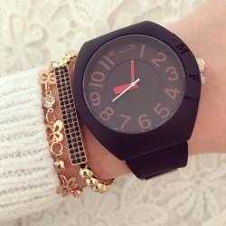 Ceas dama negru din silicon extra fin premium