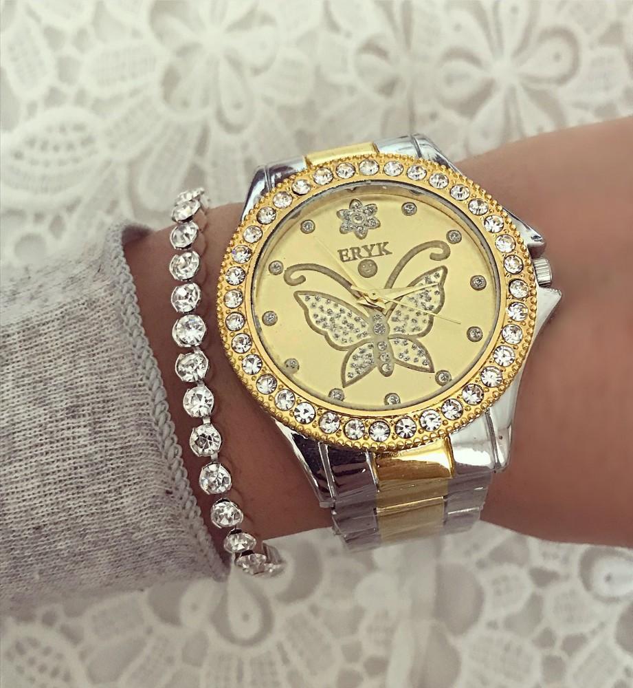 Ceas dama auriu cu argintiu si fluture