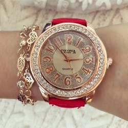 Ceas dama de culoare rosie cu pietricele