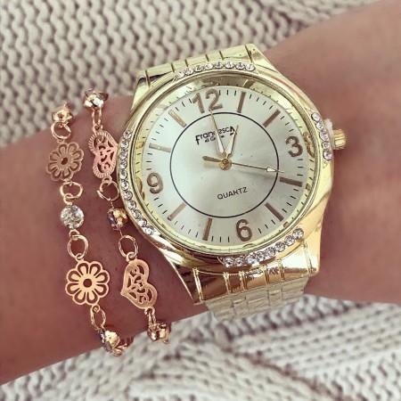 Ceas dama auriu elegant cu cadran auriu