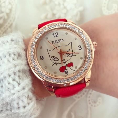 Ceas dama rosu cu pisicuta elegant din piele ecologica