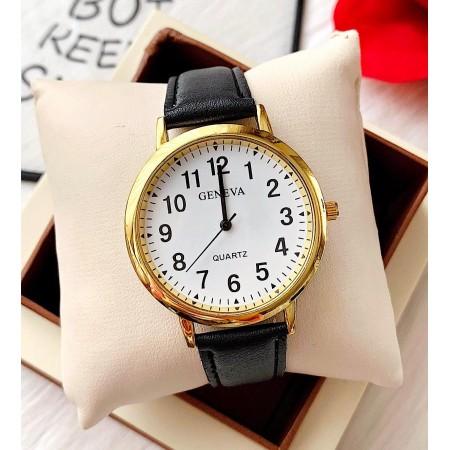 Ceas dama Geneva negru din piele ecologica