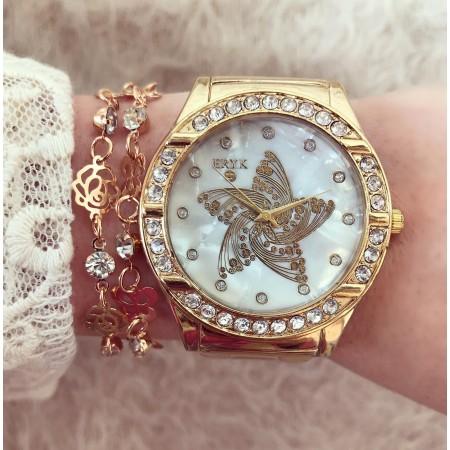 Ceas dama auriu cu model stea superb cu pietricele