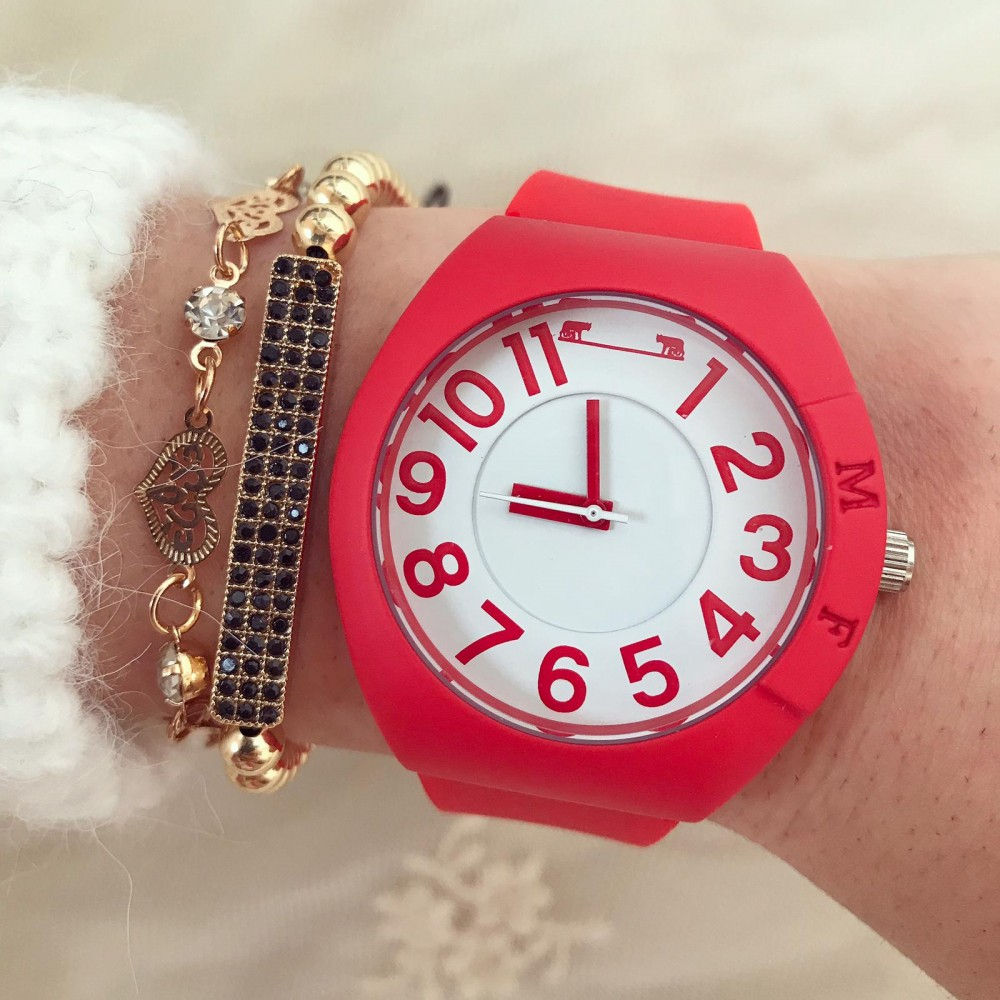 Ceas dama rosu din silicon de calitate inalta cu cadran alb
