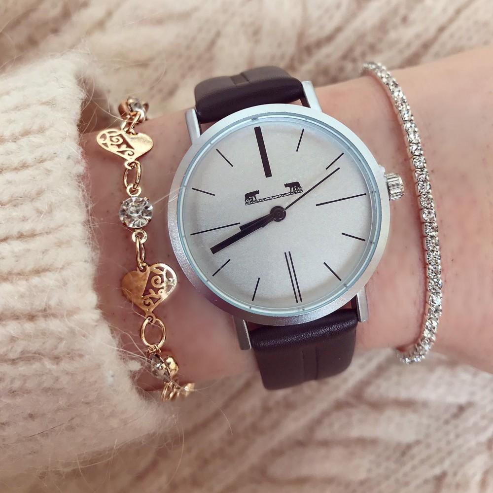 Ceas dama negru din piele ecologica elegant premium