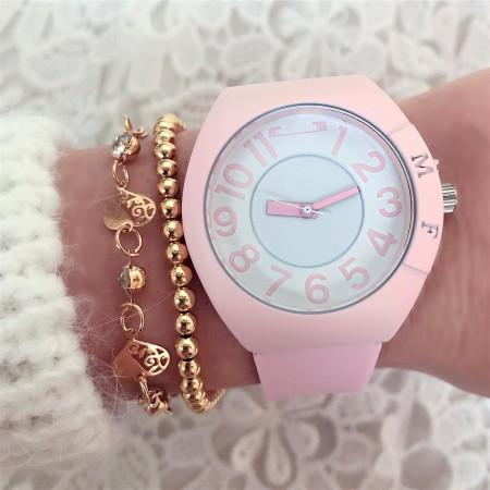Ceas dama roz deschis sport-casual din silicon extra fin