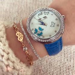 Ceas dama albastru din piele ecologica cu model superb