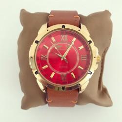 Ceas barbatesc maro elegant clasic cu cadran rosu auriu