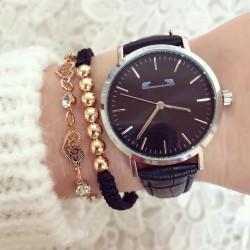 Ceas dama negru elegant clasic din piele premium