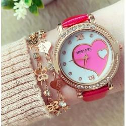 Ceas dama roz cu inima elegant cu pietricele
