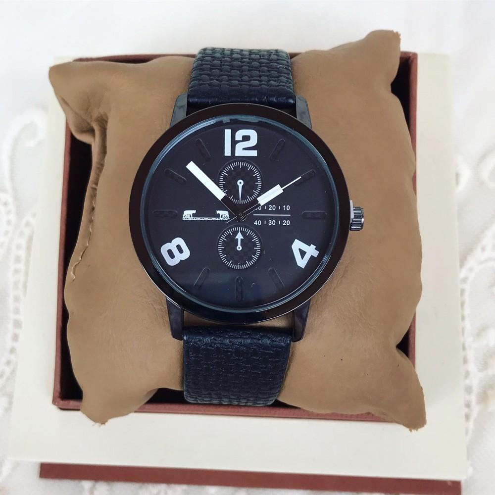 Ceas barbatesc negru clasic elegant din piele material premium