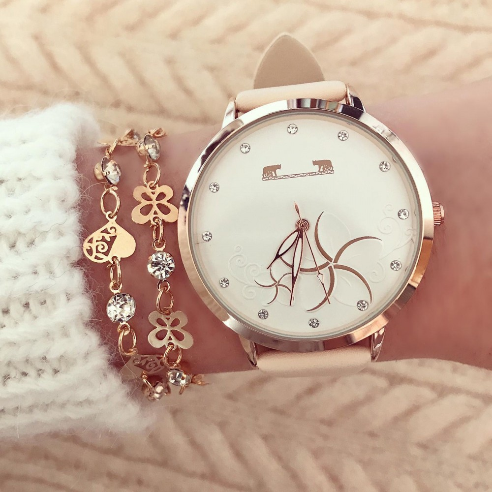 Ceas dama crem elegant din piele ecologica premium