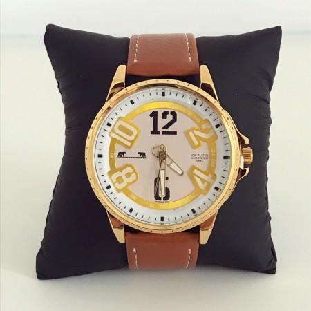 Ceas barbatesc elegant clasic maro din piele ecologica premium