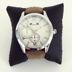 Ceas barbatesc elegant maro cu cadran alb din material piele premium