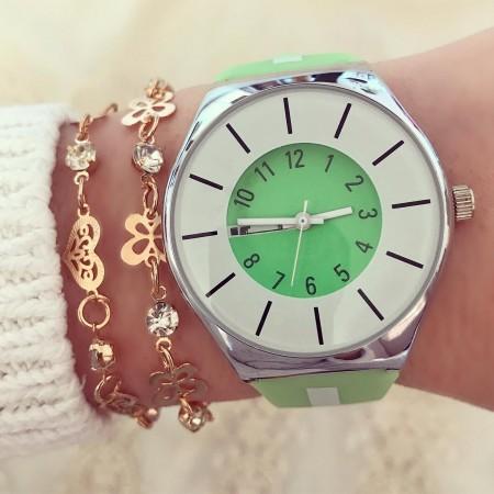 Ceas dama verde din silicon extra fin