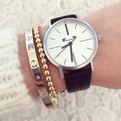 Ceas dama elegant negru din piele premium