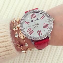 Ceas dama elegant rosu din piele premium cu pietricele
