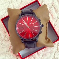 Ceas barbatesc elegant negru cu cadran rosu premium
