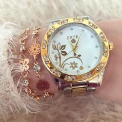 Ceas dama elegant auriu cu pietricele