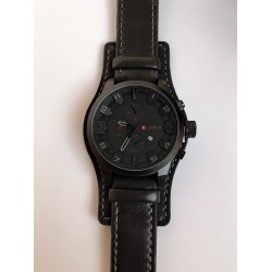 Ceas barbatesc negru din piele ecologica elegant premium