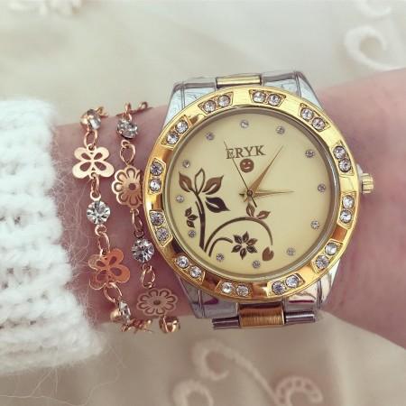 Ceas dama auriu cu model superb si pietricele