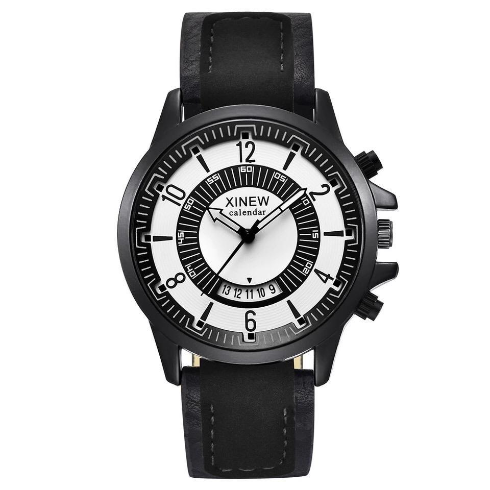 Ceas barbatesc negru clasic elegant din piele eco