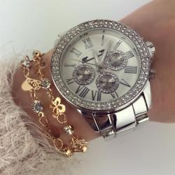 Ceas dama argintiu cu pietricele elegant cu bratara metalica