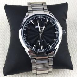 Ceas barbati argintiu elegant-clasic cu cadran negru