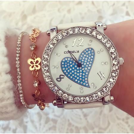 Ceas dama alb elegant cu inimioara albastra si pietricele