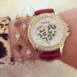 Ceas dama rosu elegant din piele eco cu pietricele