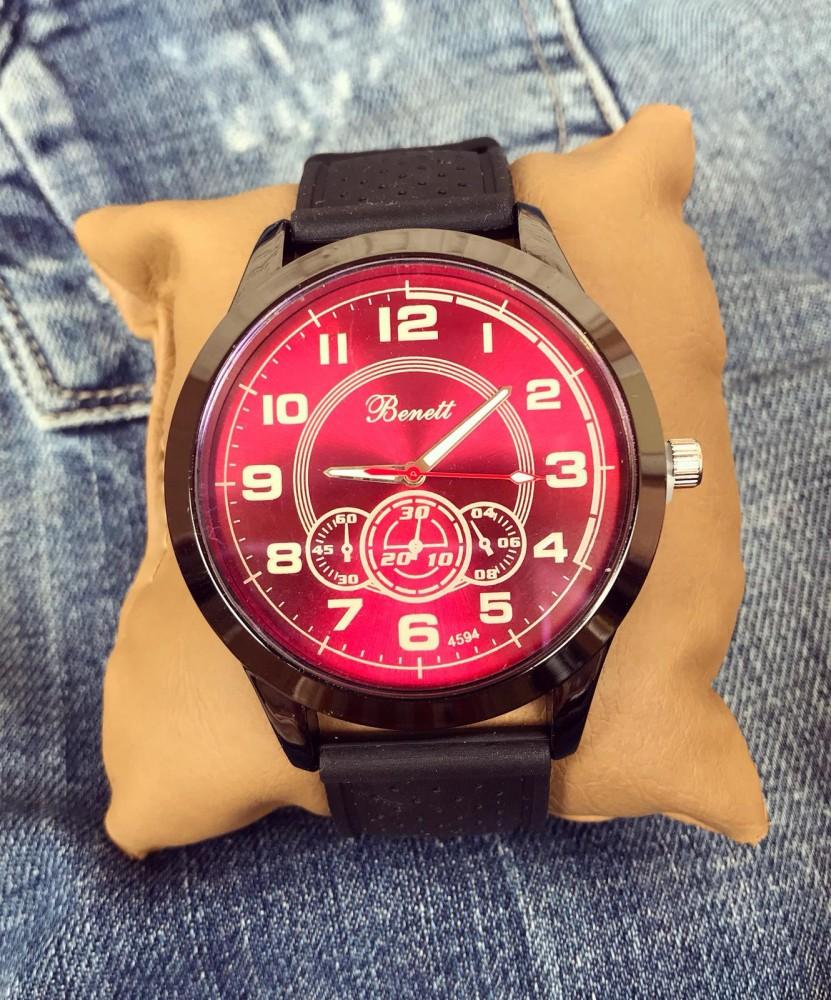 Ceas barbatesc negru din silicon cu cadran rosu