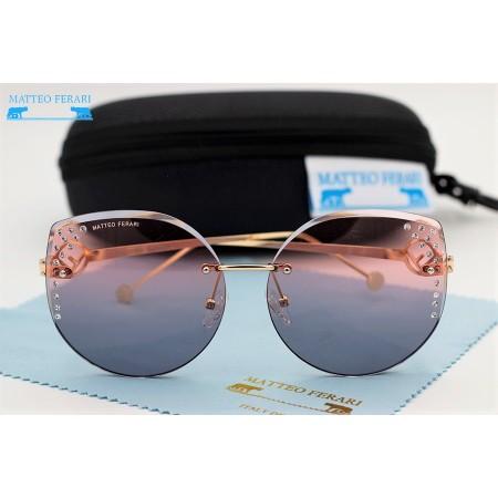 Ochelari de soare dama aurii originali Matteo Ferari lentila polarizata roz