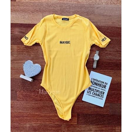 Body dama galben din bumbac premium cu imprimeu