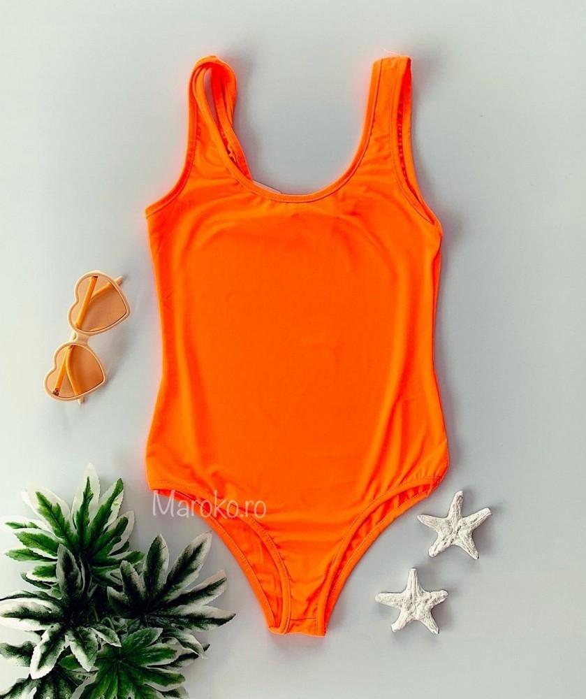 Body dama casual portocaliu neon din bumbac premium