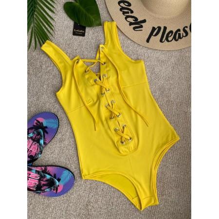 Body dama galben elastic cu siret
