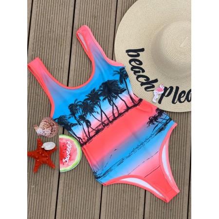 Body dama scurt albastru roz cu imprimeu pentru vara