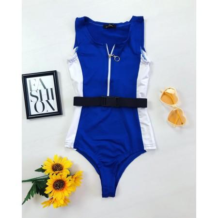 Body dama scurt albastra Curea Cadou