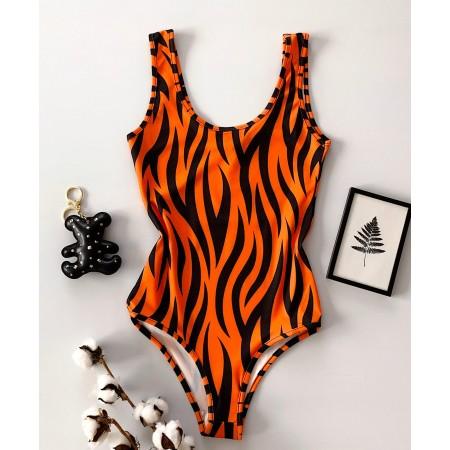 Body dama orange pentru vara cu imprimeu