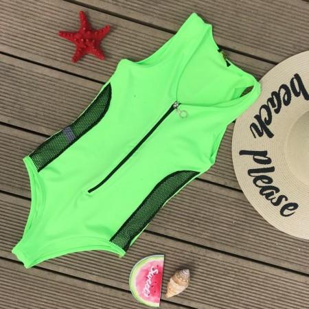 Body dama verde cu fermoar din material premium
