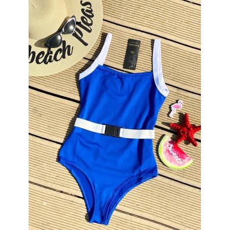 Body dama albastru pentru vara din material premium