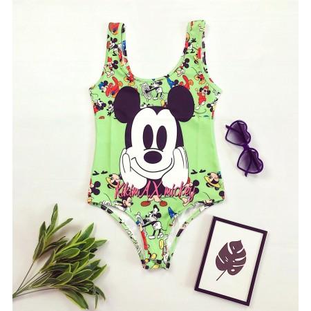 Body dama verde pentru vara cu imprimeu Mickey