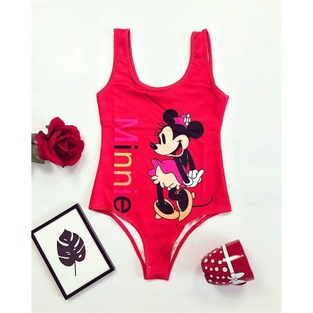 Body dama rosu pentru vara cu imprimeu Minnie