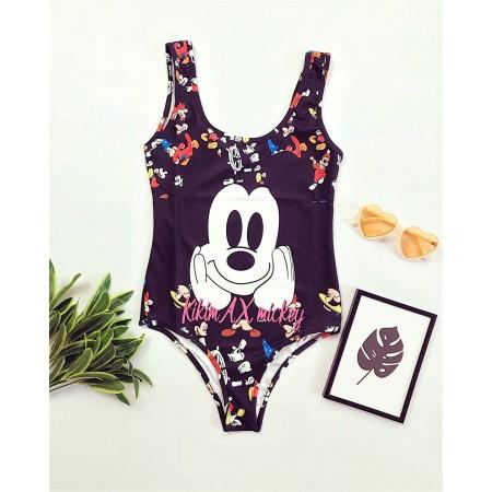 Body dama negru de vara cu imprimeu Mickey