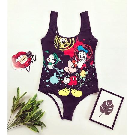 Body dama negru pentru vara cu imprimeu personaje Disney