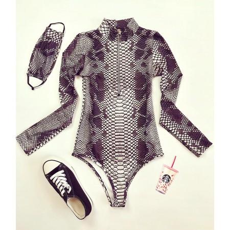 Body stil helanca dama negru cu imprimeu sarpe si fermoar + Masca