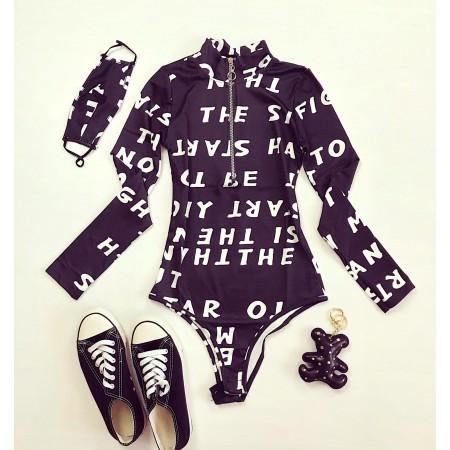 Body stil helanca dama negru cu imprimeu Litere cu fermoar