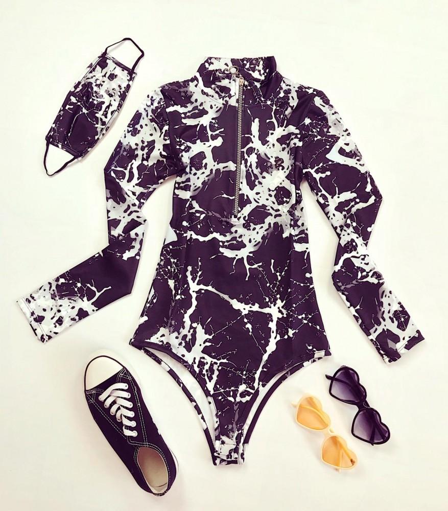 Body stil helanca dama negru cu imprimeu Vopsea cu fermoar + Masca