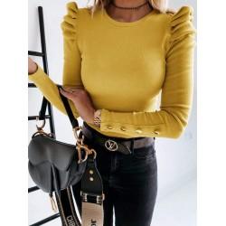 Bluza dama galben casual de zi cu umeri bufanti si nasturi aurii