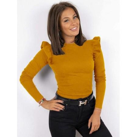 Bluza dama galben casual de zi cu volanase pe umeri