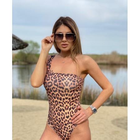 Body dama imprimeu animal print cu umar gol